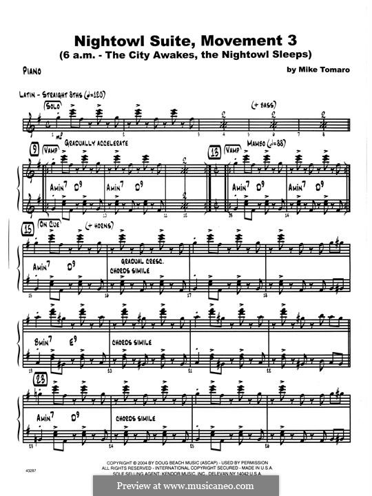 Nightowl Suite, Mvt.3: Piano part by Mike Tomaro