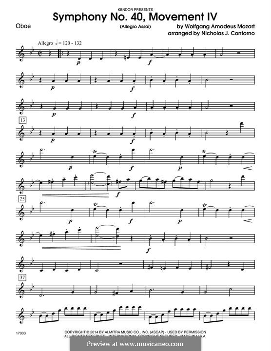 Movement IV: For winds - Oboe part by Wolfgang Amadeus Mozart