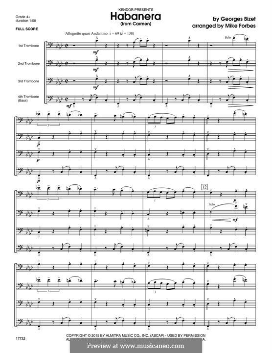 Habanera (Chamber Arrangements): For quartet trombones – full score by Georges Bizet