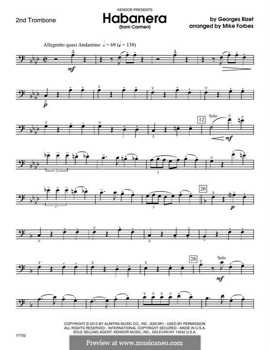 Habanera (Chamber Arrangements): For quartet trombones – 2nd Trombone part by Georges Bizet