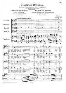 Fleurs des landes, H.124 Op.13: Le chant des bretons, for choir and piano (Second version) by Hector Berlioz