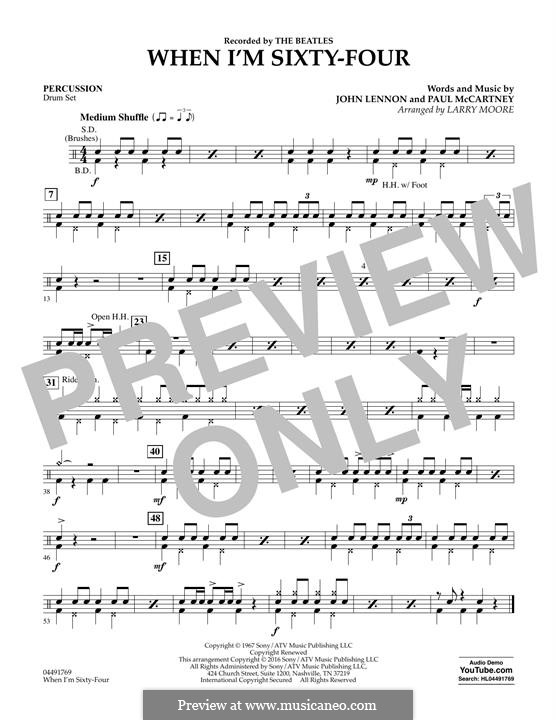 When I'm Sixty-Four (The Beatles): For strings - Percussion part by John Lennon, Paul McCartney