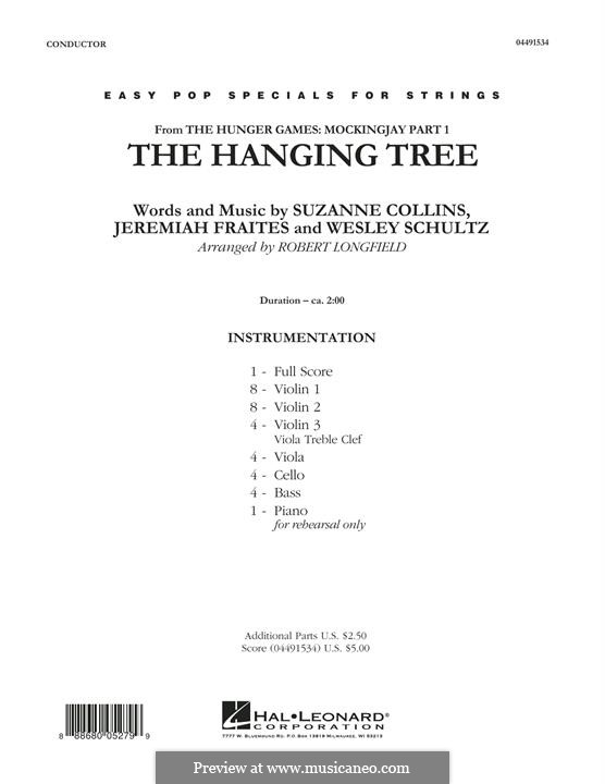 The Hanging Tree: For strings – full score (arr. Robert Longfield) by Jeremy Fraites, Wesley Schultz, Suzanne Collins