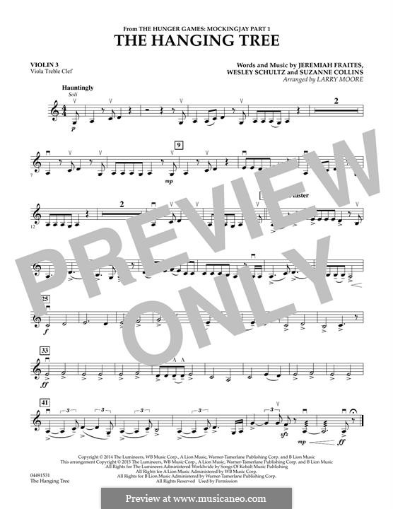 The Hanging Tree: For strings - Violin 3 (Viola Treble Clef) part by Jeremy Fraites, Wesley Schultz, Suzanne Collins