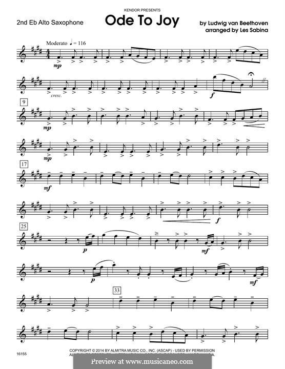 Ode To Joy (Chamber Arrangements): For quartet saxophones - 2nd Eb alto saxophone part by Ludwig van Beethoven
