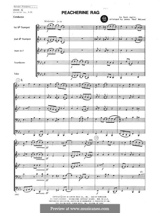 Peacherine Rag: For winds - full score by Scott Joplin