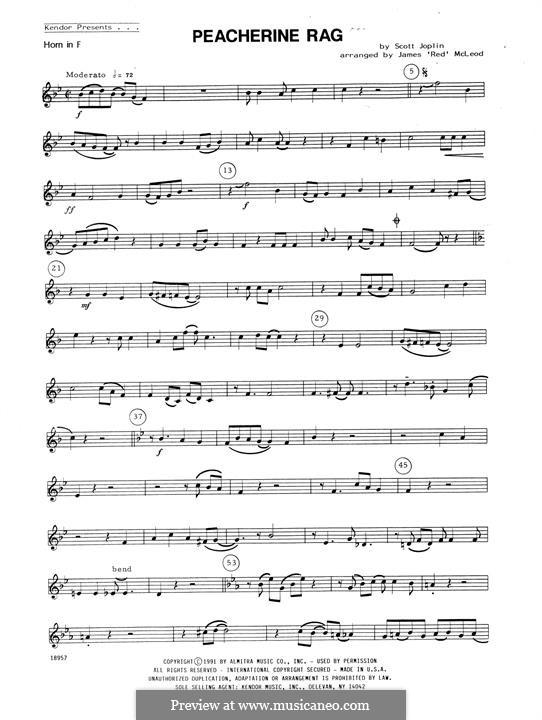 Peacherine Rag: For winds - Horn in F part by Scott Joplin