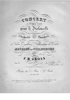 Concerto for Cello and Orchestra in G Minor, Op.31: Version for cello and piano by Johann Benjamin Gross