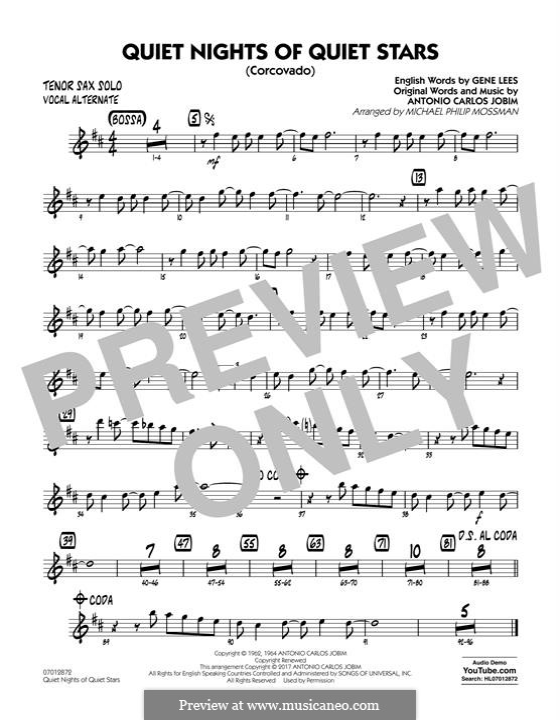 Quiet Nights of Quiet Stars (Corcovado) arr. Michael Philip Mossman: Tenor Sax Solo (Vocal Alt) part by Antonio Carlos Jobim