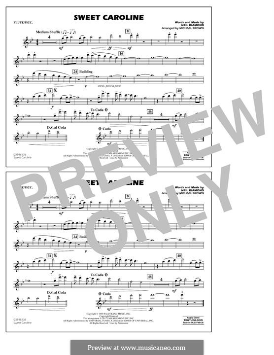 Sweet Caroline (arr. Michael Brown): Flute/Piccolo part by Neil Diamond