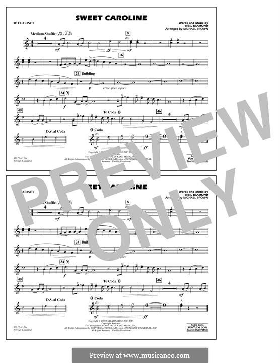 Sweet Caroline (arr. Michael Brown): Bb Clarinet part by Neil Diamond