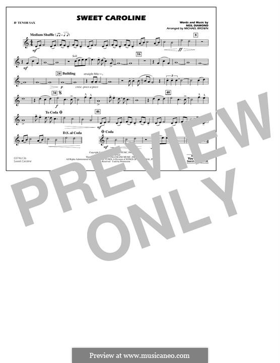 Sweet Caroline (arr. Michael Brown): Bb Tenor Sax part by Neil Diamond
