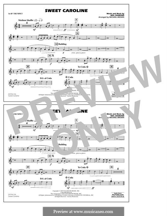 Sweet Caroline (arr. Michael Brown): 1st Bb Trumpet part by Neil Diamond
