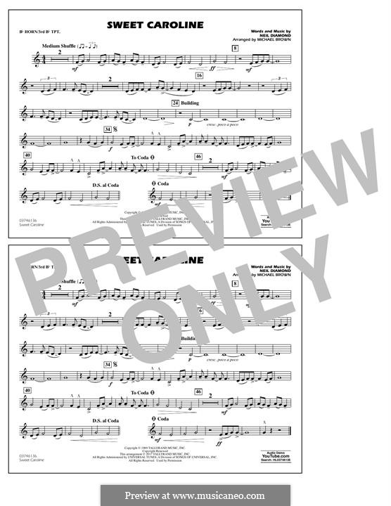 Sweet Caroline (arr. Michael Brown): Bb Horn/3rd Bb Tpt part by Neil Diamond