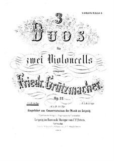 Three Duets for Two Cellos, Op.22: Duet No.1 – cello I part by Friedrich Grützmacher
