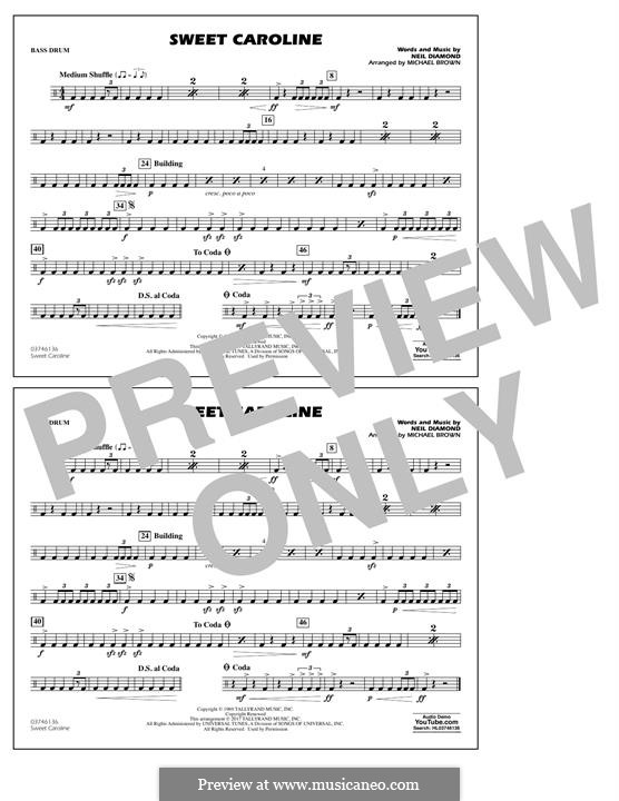Sweet Caroline (arr. Michael Brown): Bass Drum part by Neil Diamond