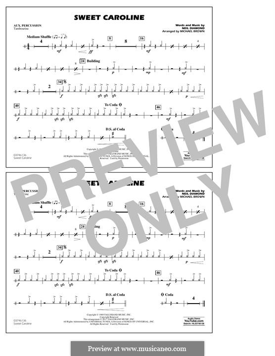 Sweet Caroline (arr. Michael Brown): Aux Percussion part by Neil Diamond