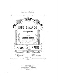 Two Romances without Words for Cello and Piano: Romance No.1 by Ernest Guiraud