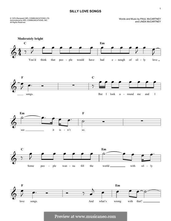 Silly Love Songs (Wings): For keyboard by Linda McCartney, Paul McCartney