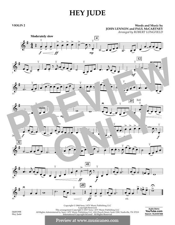 Hey Jude (The Beatles): For strings - Violin 2 part by John Lennon, Paul McCartney