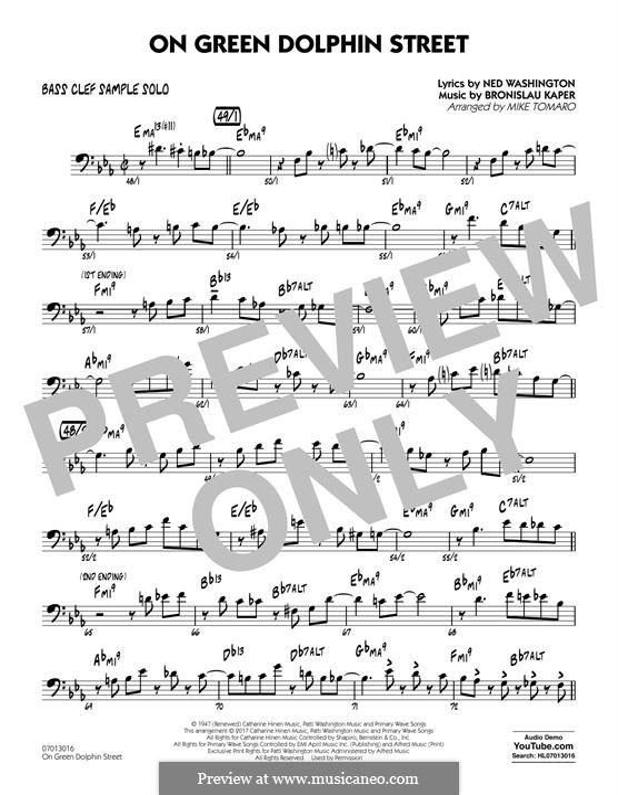 On Green Dolphin Street (Jazz Ensemble version): Bass Clef Sample Solo part by Bronislau Kaper