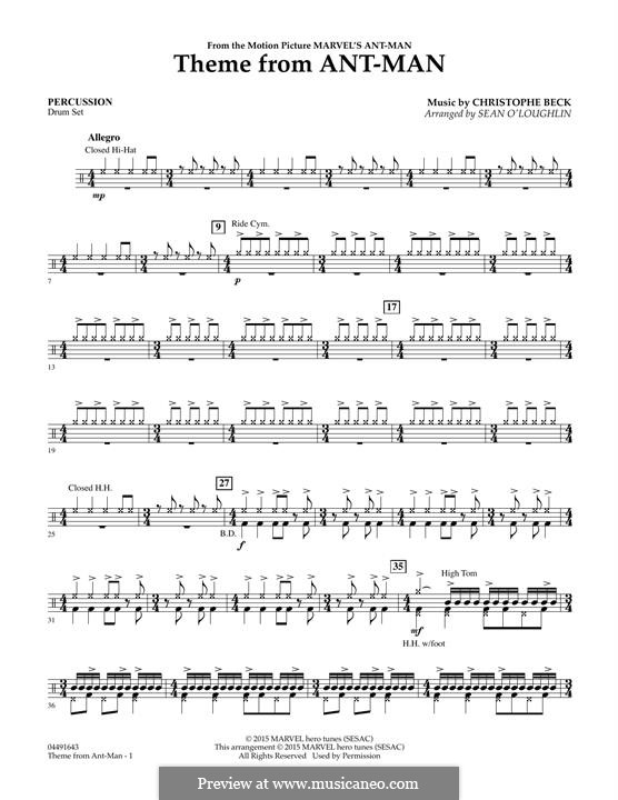 Theme from Ant-Man (arr. Sean O'Loughlin): Percussion part by Christophe Beck