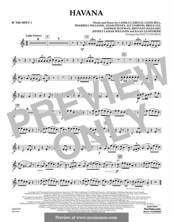 Havana (arr. Matt Conaway): Bb Trumpet 1 part by Brian Lee, Pharrell Williams, Alexandra Tamposi, Camila Cabello, Frank Dukes, Young Thug