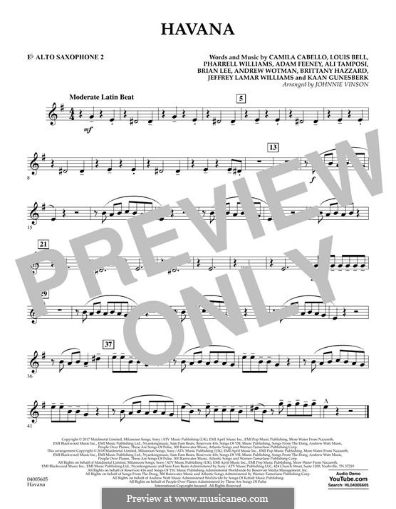 Havana (arr. Johnnie Vinson): Eb Alto Saxophone 2 part by Brian Lee, Pharrell Williams, Alexandra Tamposi, Camila Cabello, Frank Dukes, Young Thug