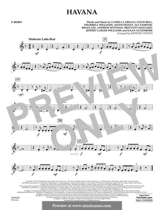 Havana (arr. Johnnie Vinson): F Horn part by Brian Lee, Pharrell Williams, Alexandra Tamposi, Camila Cabello, Frank Dukes, Young Thug