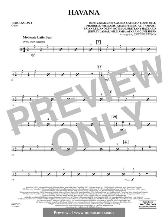 Havana (arr. Johnnie Vinson): Percussion 2 part by Brian Lee, Pharrell Williams, Alexandra Tamposi, Camila Cabello, Frank Dukes, Young Thug