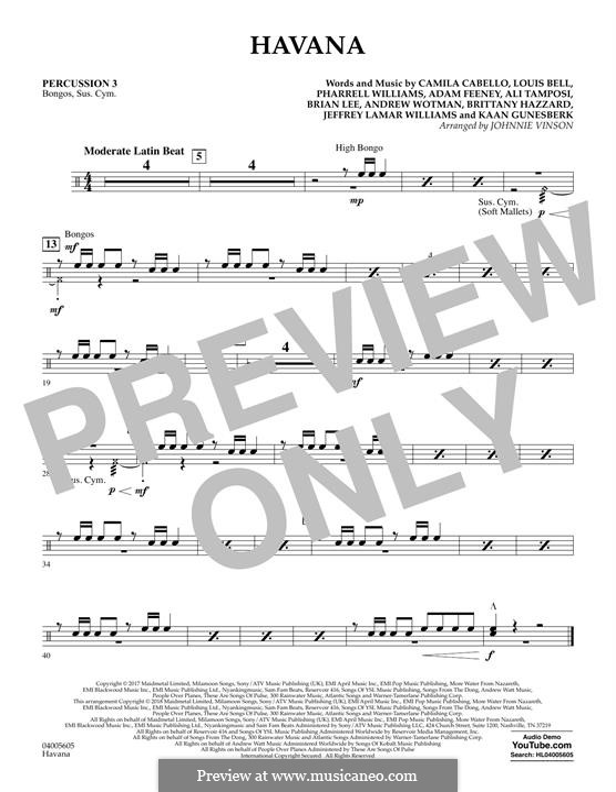 Havana (arr. Johnnie Vinson): Percussion 3 part by Brian Lee, Pharrell Williams, Alexandra Tamposi, Camila Cabello, Frank Dukes, Young Thug