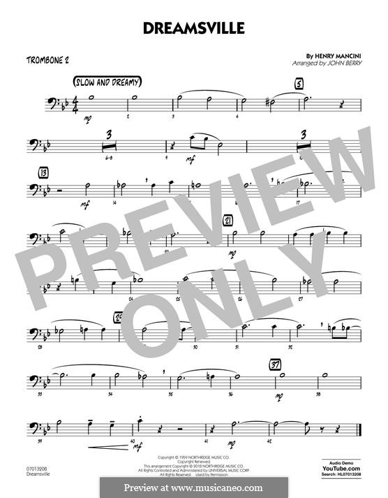 Dreamsville (arr. John Berry): Trombone 2 part by Henry Mancini