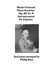 Sonatina No.6: 2nd movement, for 2 pianos by Muzio Clementi