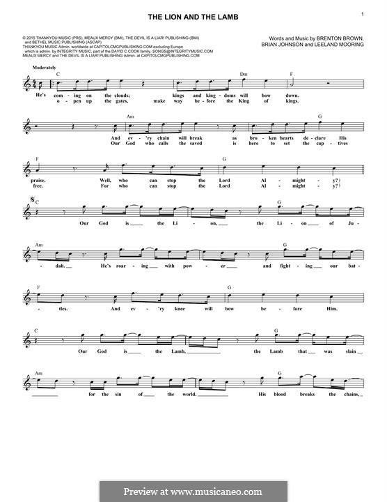 The Lion and The Lamb (Big Daddy Weave): For keyboard by Brian Johnson, Leeland Mooring, Brenton Brown