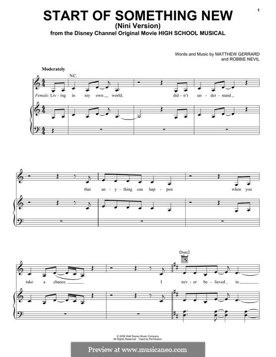 Start of Something New (from High School Musical): For voice and piano (or guitar) by Matthew Gerrard, Robbie Nevil
