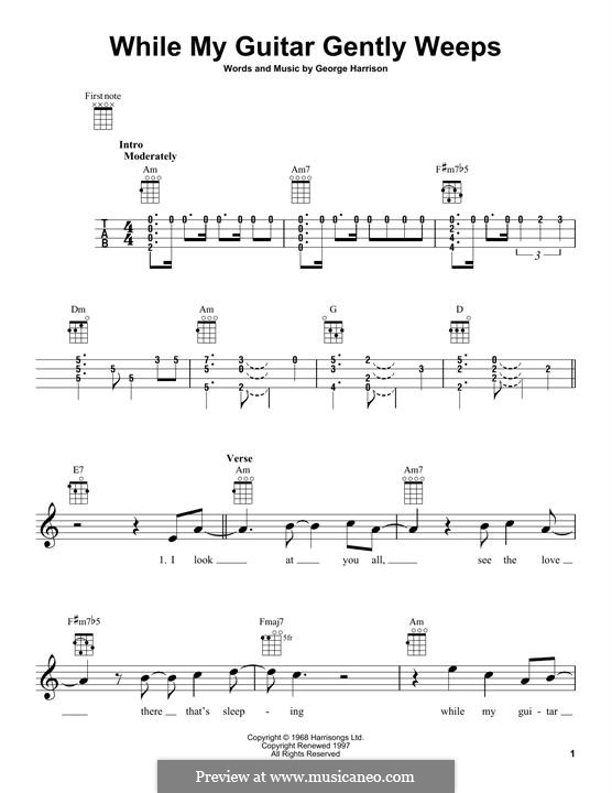 While My Guitar Gently Weeps (The Beatles): For ukulele by George Harrison