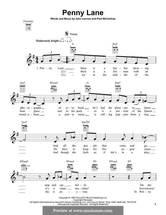 Penny Lane (The Beatles): For ukulele by John Lennon, Paul McCartney