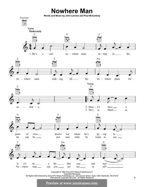 Nowhere Man (The Beatles): For ukulele by John Lennon, Paul McCartney