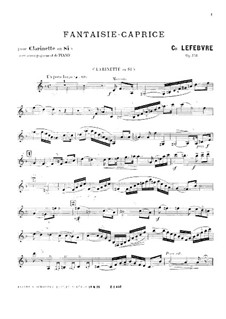 Fantasia-Caprice for Clarinet and Piano, Op.118: Solo part by Charles Lefebvre