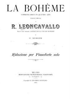 La bohème: Arrangement for piano by Ruggero Leoncavallo