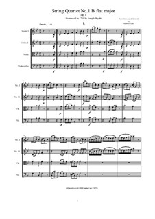 String Quartet No.1 in B Flat Major, Hob.III/1 Op.1 No.1: Score and parts by Joseph Haydn