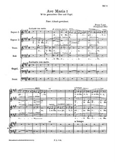 Ave Maria I, S.20: Second version by Franz Liszt