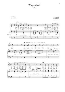 Lullaby, K.350: For voice and piano by Wolfgang Amadeus Mozart
