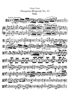 No.13 in A Minor, S.244: For orchestra – viola part by Franz Liszt