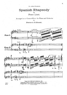 Rhapsodie Espagnole, S.254: For two pianos four hands by Franz Liszt