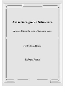 Twelve Songs, Op.5: No.1 Aus meinen groβen Schmerzen, for Cello and Piano by Robert Franz