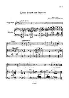 Petrarch's Sonnets for Voice and Piano, S.270: Sonnet No.104 by Franz Liszt
