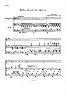 Petrarch's Sonnets for Voice and Piano, S.270: Sonnet No.123 by Franz Liszt