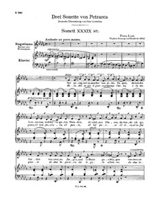 Petrarch's Sonnets for Voice and Piano, S.270: Sonnet No.47 by Franz Liszt