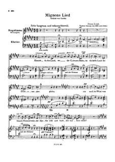 Mignon's Lied, S.275: Klavierauszug mit Singstimmen by Franz Liszt